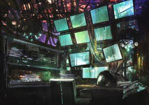 sci-fi creative workspace,digital painting,illustration